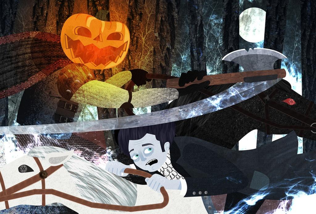 Headless horseman and Ichabod Crane digital illustration art pumpkin head Halloween sleepy hollow