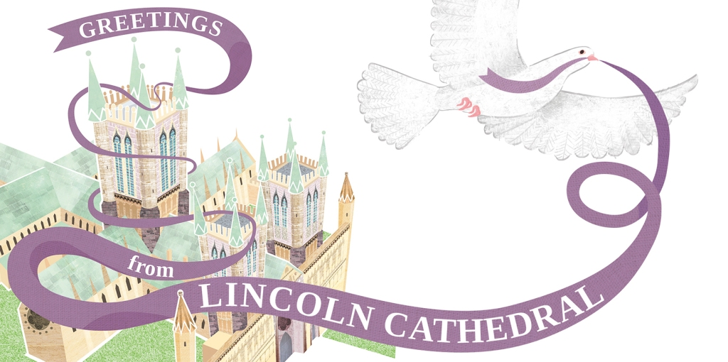 Lincoln Cathedral greeting digital illustration art featuring dove