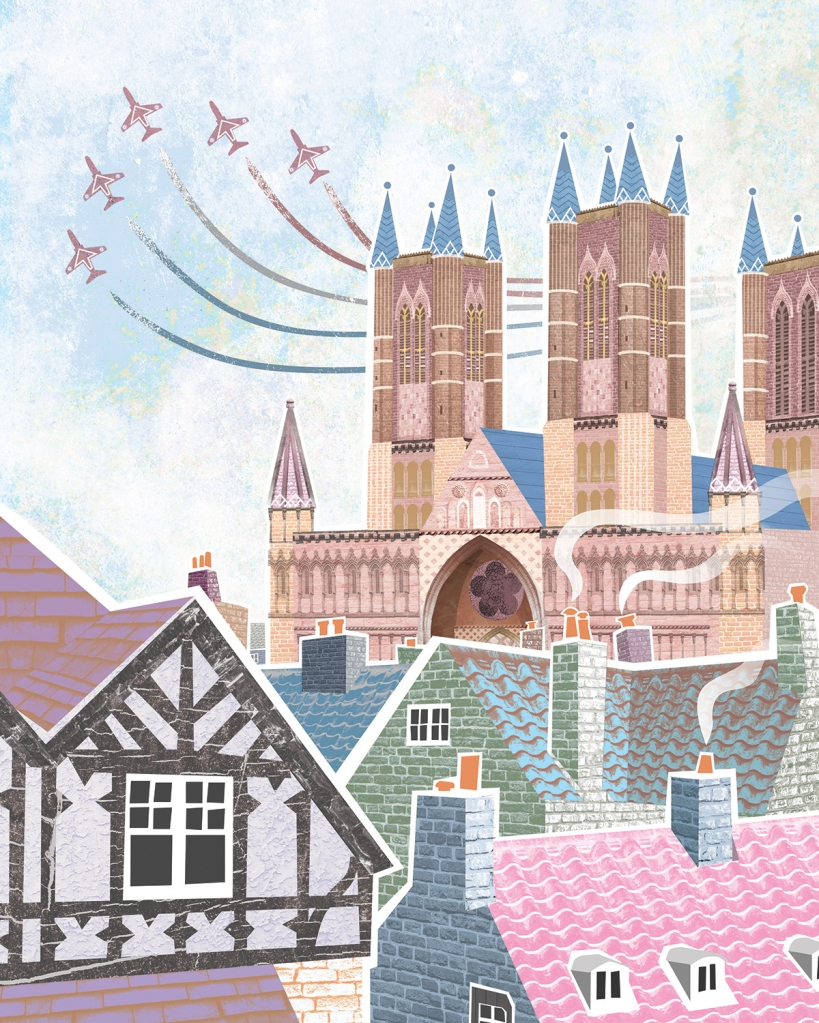 Lincoln Cathedral digital illustration artwork featuring the Red Arrows Lincolnshire