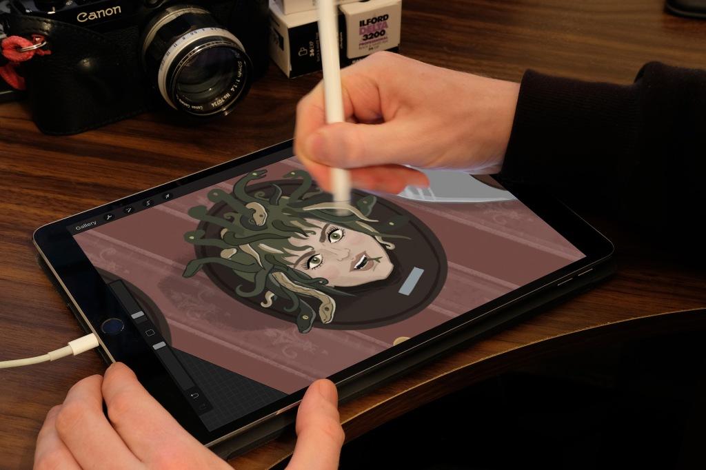 Medusa digital illustration on the iPad Pro with procreate