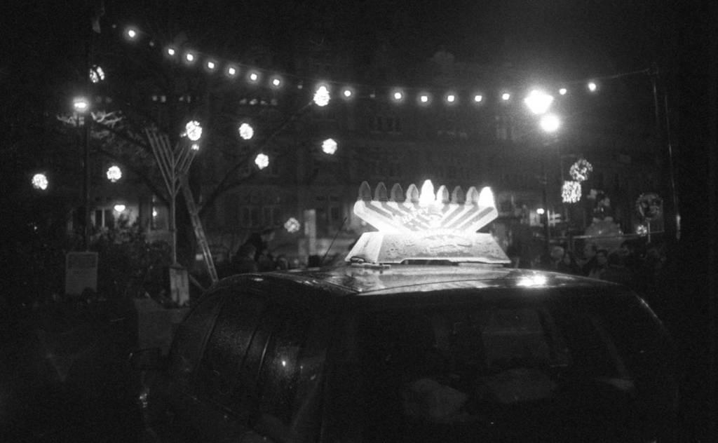 chanukah menorah lighting at the peace gardens in sheffield