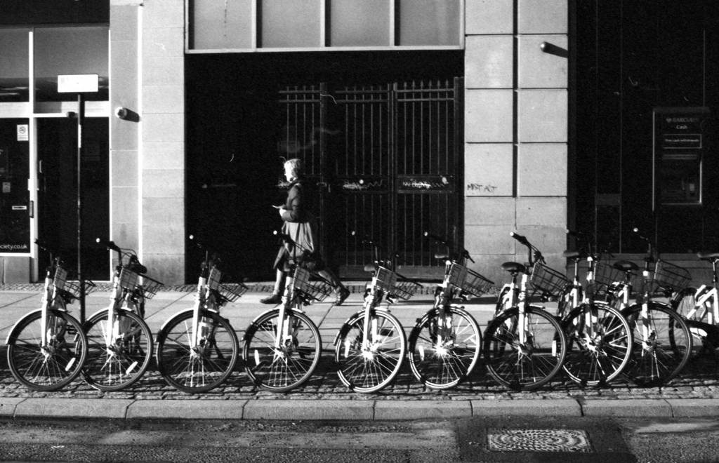 Rental bicycles parked in a row on Sheffield High Street