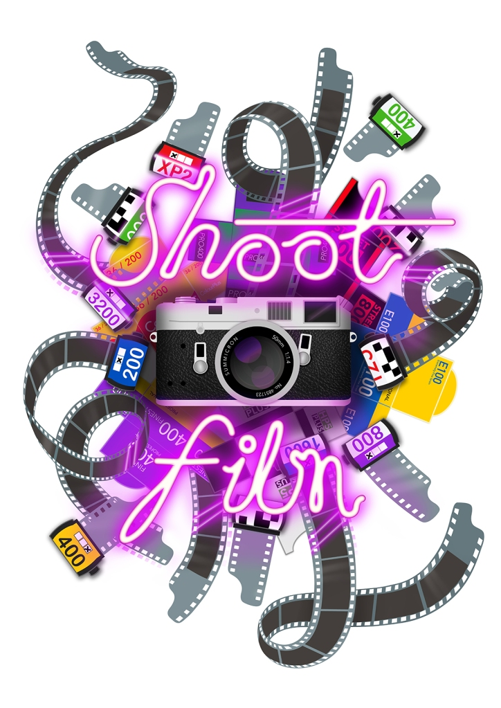 Digital design of a Leica film camera with 35mm film and Neon Shoot Film text